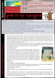 Lamb to the Slaughter by Roald Dahl  READING + questions + KEY