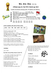 English Worksheet: We Are One - World Cup 2014 Song