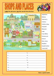 English Worksheet: Shops and Places:6