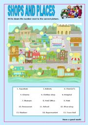 English Worksheet: Shops and Places:7