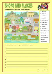 English Worksheet: Shops and Places:8