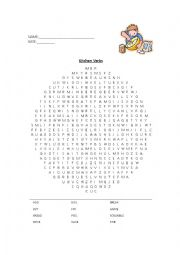 English Worksheet: Kitchen Verbs Word Search