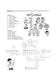 English Worksheet: The Simpsons Family crossword puzzle