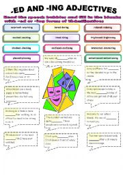 English Worksheet: the adjectives ending with -ed and -ing