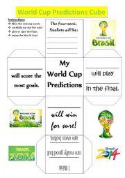 English Worksheet: World Cup Predictions Cube