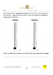 English Worksheet: measure temperature