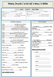 English Worksheet: Much , Many