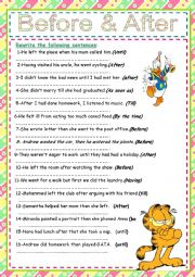 English Worksheet: After before as soon as  exercises+ key