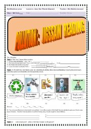 English Worksheet: EARTH  DAY LESSON ( 8TH FORMERS )