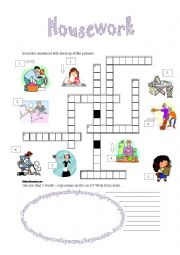 English Worksheet: Housework crossword