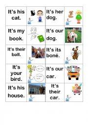 English Worksheet: Possessive adjectives memory game