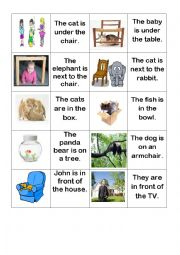 English Worksheet: Prepositions memory game