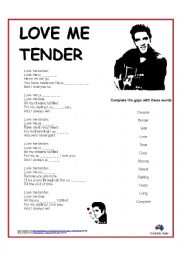Song: Love Me Tender by Elvis (cloze)