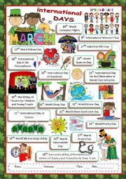 English Worksheet: March International Days