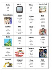 English Worksheet: Miming and Taboo Cards