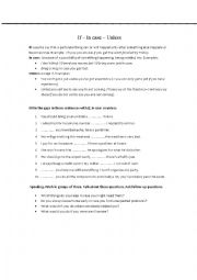 English Worksheet: If, in case or unless