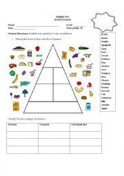 English Worksheet: food pyramid test