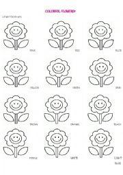 English Worksheet: COLORFUL FLOWERS