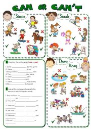 English Worksheet: CAN or CAN�T - abilities *2 pages, 8 tasks*
