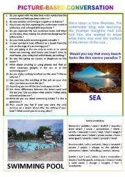 Picture-based conversation : topic 31 - swimming pool vs sea