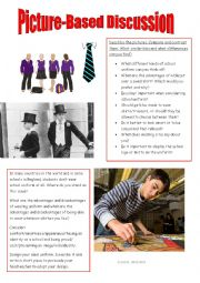 English worksheet: For and against school uniform.