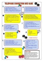 English Worksheet: Telephone Connection Dice Game