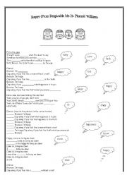 English worksheet: Happy (Despicable me 2) Pharrel Williams