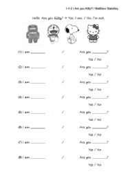 English Worksheet: Are you Snoopy? Yes I am / No I�m not.