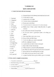 English Worksheet: health and sports vocabulary test