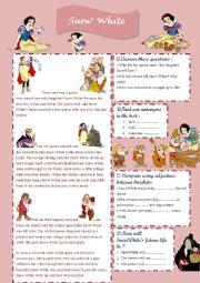 reading a fairy tale SNOWWHITE