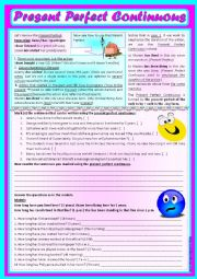 English Worksheet: Present Perfect Continuous (with review on Present Perfect) *editable