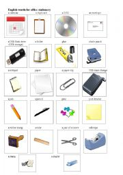 English words for office stationery