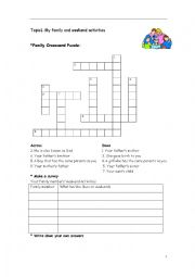 English Worksheet: my family and weekend activities