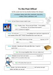 English Worksheet: Let�s Go To The Post Office!