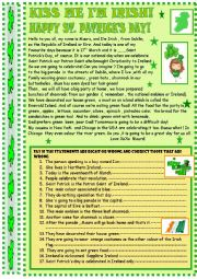 English Worksheet: St.Patrick´s Day : reading