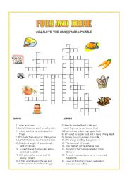 English Worksheet: Food and Drink crossword