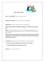English Worksheet: How to write a Diary