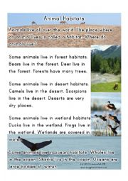 English Worksheet: animal habitat