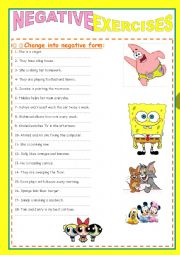 English Worksheet: PRESENT SIMPLE NEGATIVE  EXERCISES