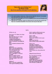 English Worksheets: She�s Not Just A Pretty Face by Shania Twain