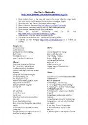 English Worksheet: One Day by Matisyahu