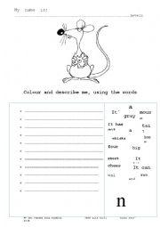 english worksheets describe the mouse. Black Bedroom Furniture Sets. Home Design Ideas