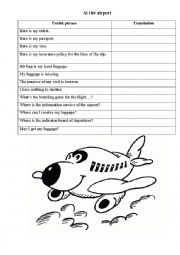 At the Airport worksheet vocabulary