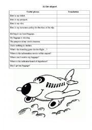 English Worksheet: At the Airport worksheet vocabulary
