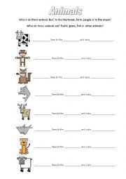 English Worksheet: Animals - where do they live and what do they eat