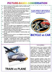 Picture-based conversation : topic 37 - bike vs car & train vs plane