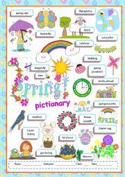 English Worksheet: Spring pictionary