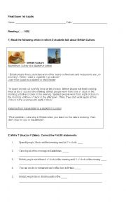 English Worksheet: Exam for ESL adults - Elementary level (coursebook: New English File Elementary)