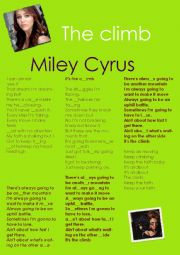 English Worksheet: miley cyrus singing THE CLIMB