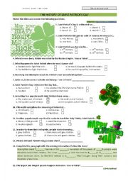 English Worksheet: THE HISTORY OF SAINT PATRICK'S DAY - video activity
